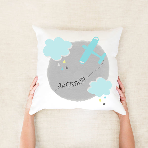 Planes and Clouds Personalised Cushion - boys custom name pillow - Happy joy Decor