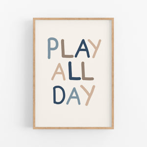 Play All Day Print Set - Playroom Poster - Happy Joy Decor