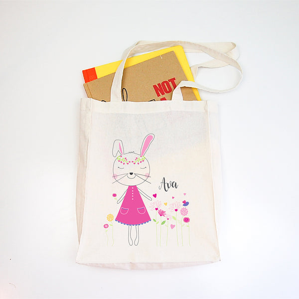 Pretty Bunny Girls Personalised Library Tote Bag - Happy Joy Decor