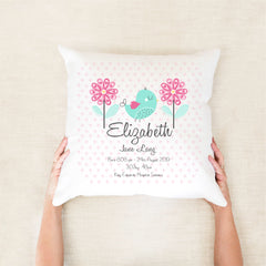 Pretty bird birth stat cushion - Happy Joy Decor