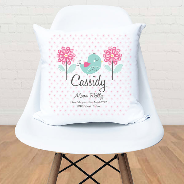 Pretty bird girl's personalised birth cushion - Happy Joy Decor