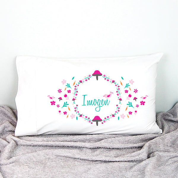 Pink Toadstool Personalised Pillowcase - Happy Joy Decor
