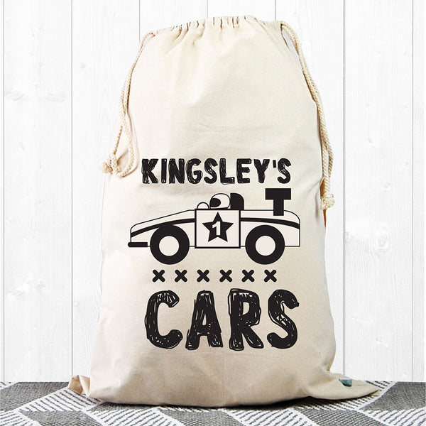 Racing Car Kids Personalised Storage Sack