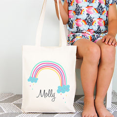 Rainbow Girls Personalised Library Tote Bag - Happy Joy Decor