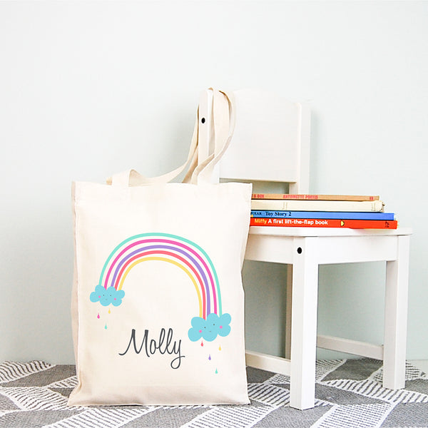 Rainbow Girls Personalised Library Tote Bag