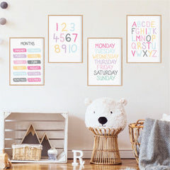 Essential Playroom Print Set - Girls Rainbow Wall Art - Happy Joy Decor