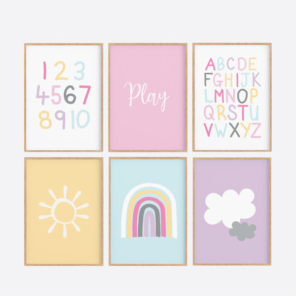 Rainbow Playroom Printable Art Set - Girls Bedroom Printables - Happy Joy Decor
