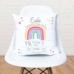 Rainbow Girl's Personalised Birth Cushion - Happy Joy Decor