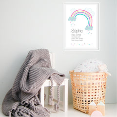 Rainbow & Clouds Girls Nursery Personalised Birth Print