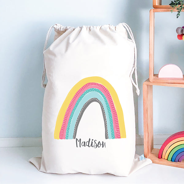 Rainbow Kids Personalised Toy Storage Sack - Happy Joy Decor
