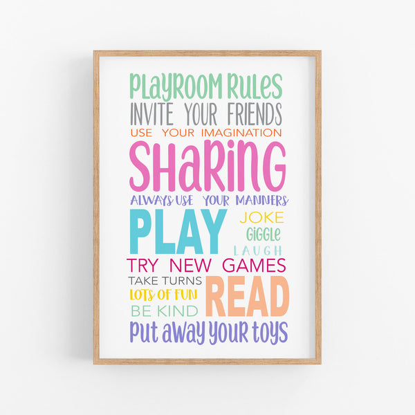 Rainbow Playroom Rules Wall Print - Girls wall art - Happy Joy Decor
