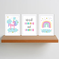 Rainbows & Unicorn Printable Wall Art Set - Happy Joy Decor