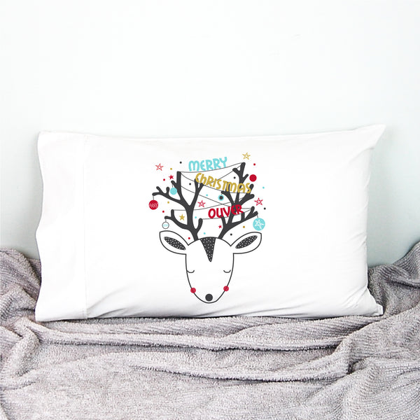 Christmas Reindeer Personalised Pillowcase - Happy Joy Decor