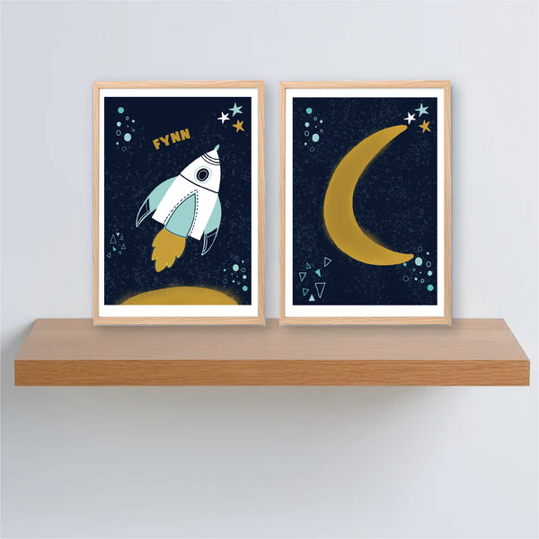 Space Rocket Personalised Print Set - Boys name print - Happy Joy Decor