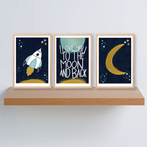Rocket Space Printable Art Set - Happy Joy Decor