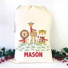 Safari Animals Personalised Santa Sack - Happy Joy Decor