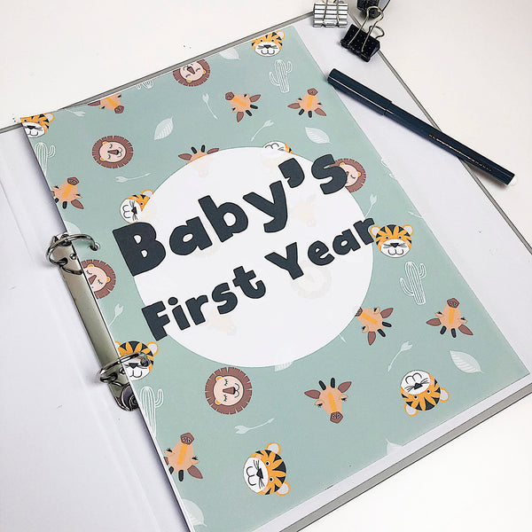 Safari Wonderland Baby Printable Journal 0-12 months - Happy Joy Decor