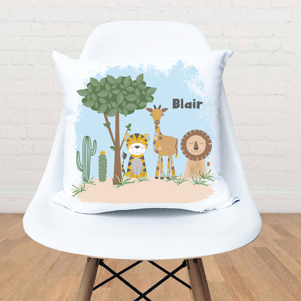 Safari animal personalised kids cushion - Happy Joy Decor