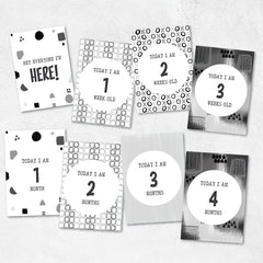 Instant Download Gender Neutral Monochrome Printable Milestone Cards