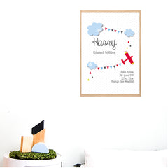 Sky High Boy's Personalised Birth Wall Art Print