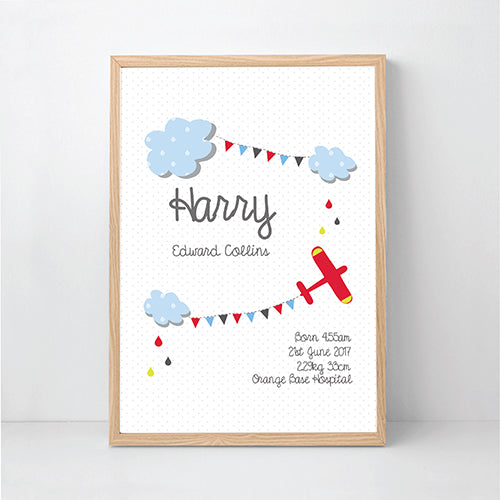 Boys plane personalised birth print - Happy Joy Decor