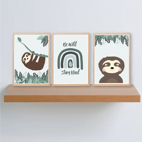 Sloth Printable Art Set - Kids Instant Download - Happy Joy Decor