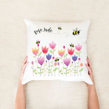 Load image into Gallery viewer, Spring Tulips Personalised Cushion - girls custom name pillow - Happy Joy Decor