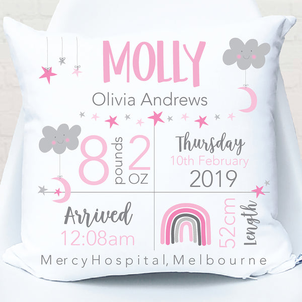 Star & Moon Girl's Personalised Birth Cushion - Happy Joy Decor