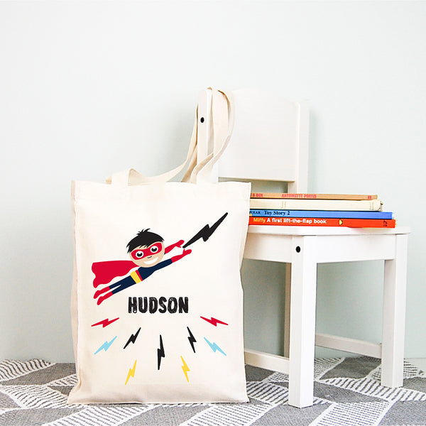 Superhero Personalised Boys Library Tote Bag