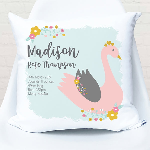 Swan personalised girls birth cushion