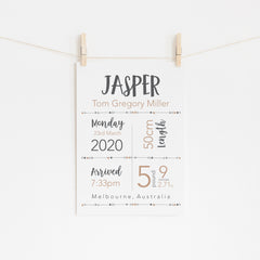 Boys Essential Birth Stat Print - Natural Nursery Decor - Happy Joy Decor