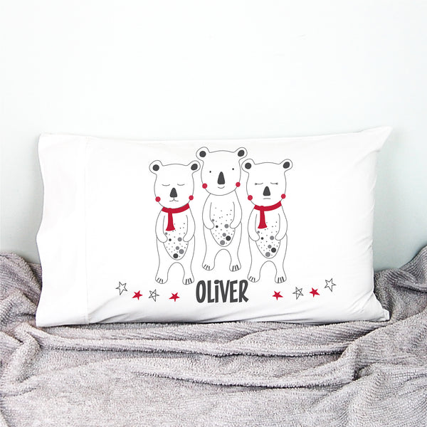 Three Bears Christmas Bunny Personalised Pillowcase - Happy Joy Decor