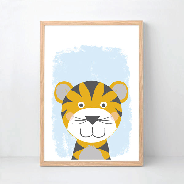 Happy Tiger Wall Art Printable Instant Download - Happy Joy Decor