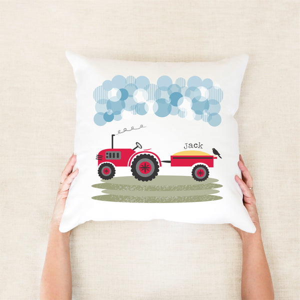 Tractor personalised cushion - custom name pillow - Happy Joy Decor