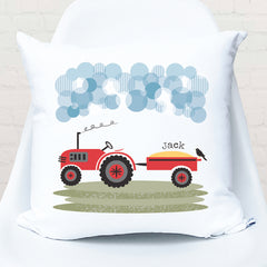 Red tractor personalised cushion - Happy Joy Decor