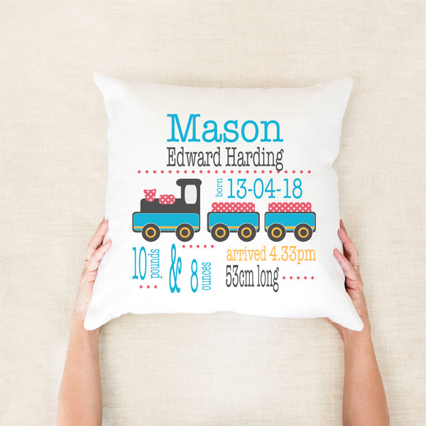 Train birth stat cushion - Happy Joy Decor