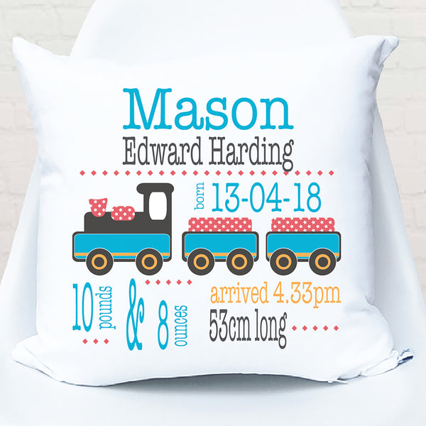 Boy's train personalised birth cushion - Happy Joy Decor