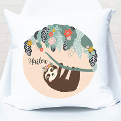 Tree Sloth Personalised Cushion - Girls Custom Name Pillow - Happy Joy Decor