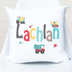 Trucks & tippers personalised cushion - Happy Joe Decor