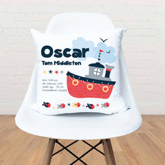 Tug Boat Personalised Birth Cushion - Happy Joy Decor
