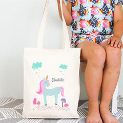 Unicorn Girls Personalised Library Tote Bag