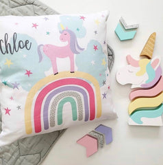 Rainbow & unicorn girls personalised cushion - Happy Joy Decor