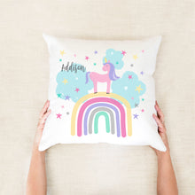 Load image into Gallery viewer, Rainbow & unicorn girls personalised cushion - girls custom name pillow - Happy Joy Decor