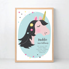 Unicorn Girls Personalised Birth Print - Happy Joy Decor