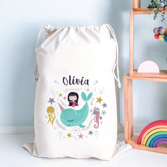 Unicorn Whale Kids Personalised Toy Storage Sack