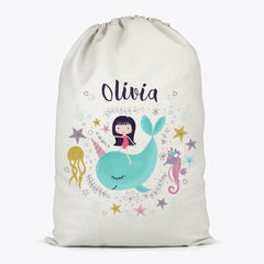 Unicorn Whale Personalised Toy Storage Bag