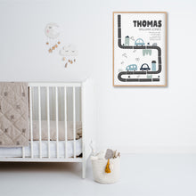Load image into Gallery viewer, Urban Traffic Birth Stat Print - boys bedroom decor - Happy Joy Decor