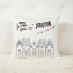 Vintage plane personalised cushion - custom name pillow - Happy Joy Decor