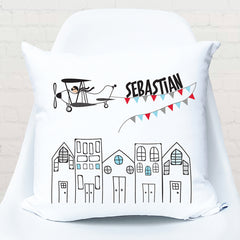 Vintage plane personalised cushion