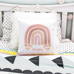 Watercolour Rainbow Personalised Cushion - Custom Girls Name Pillow - Happy Joy Decor